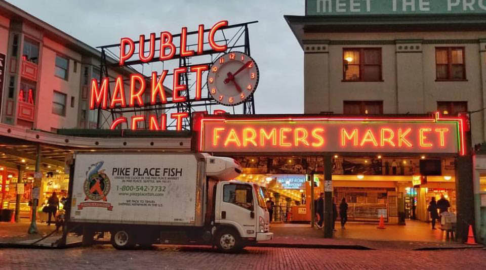 Pike Place Fish Market located in Seattle's world famous Pike Place Market - Seattle, WA - seafood market