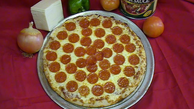 Pepperoni pizza served at Pizza For U in Will County, IL.