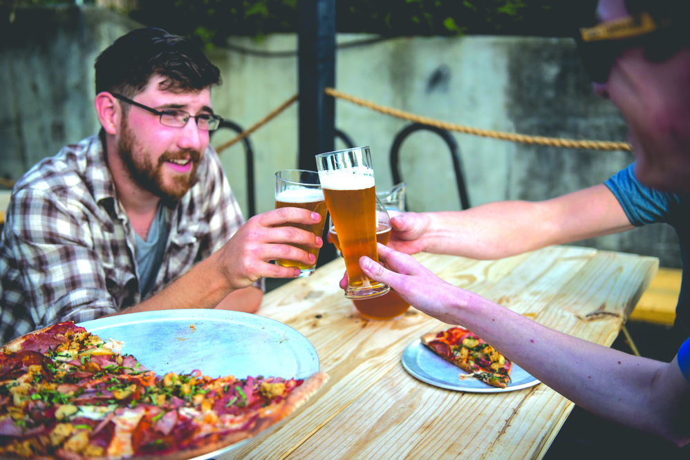pizza, eat out, restaurant, friends, beer, brew, tap, pizzeria, gather, food, delicious