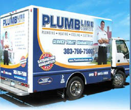Plumbline heating cooling electrical services of Denver Colorado repair van