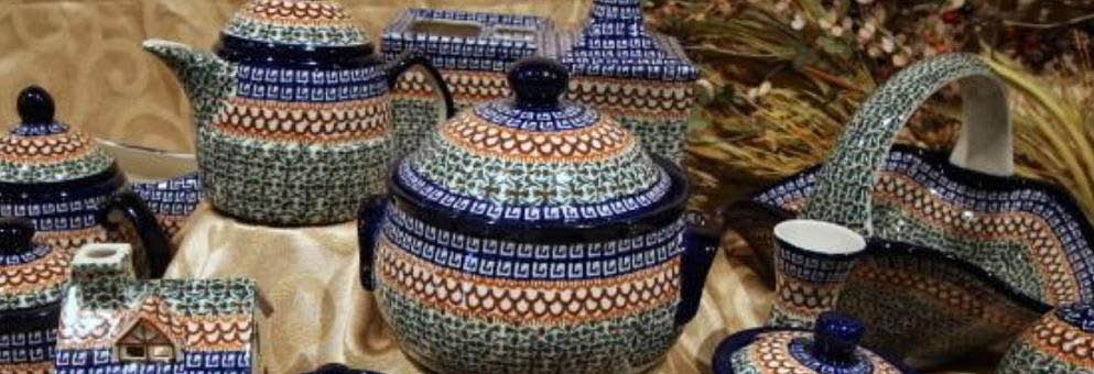 photo of a collection of Polish pottery from Polish Pottery and Beyond in South Lyon, MI
