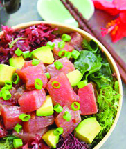 salmon poke bowl with green onions