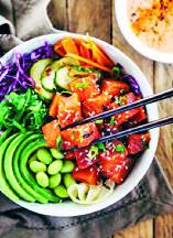 colorful vegetarian poke bowl in Ownings Mills, MD
