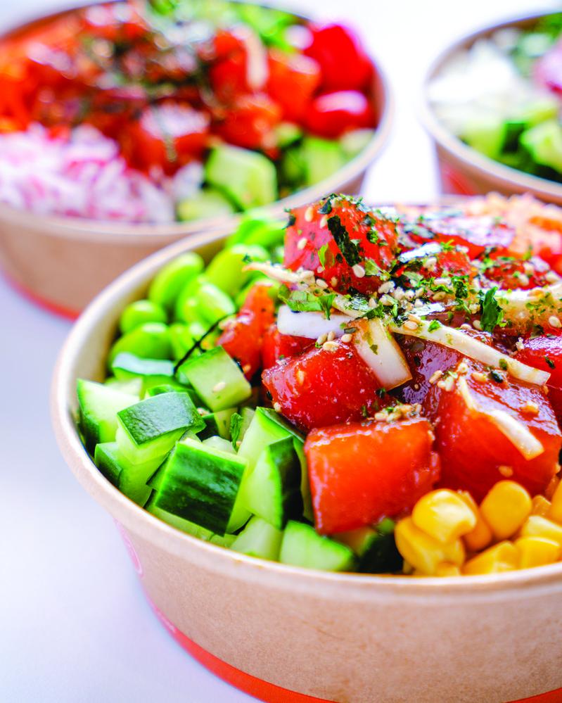 freshly chopped veggie poke bowls