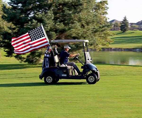 America is beautiful - golf cart on the fairway