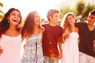 group of happy teenagers