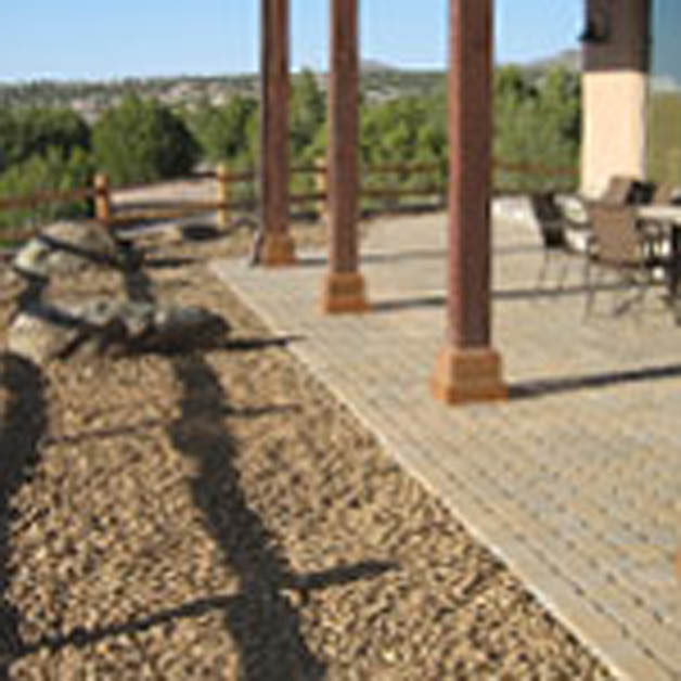 patio with landscaping rocks