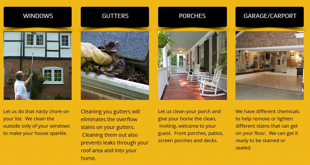 Pressure washing for windows, gutters, porches, garages and carports in the Atlanta, GA area