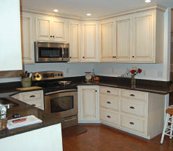 newly painted kitchen cabinets; Interior painting and exterior painting by Prime Time Painting, Chicagoland