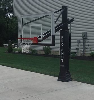 photo of lowered Pro Shot Basketball pole