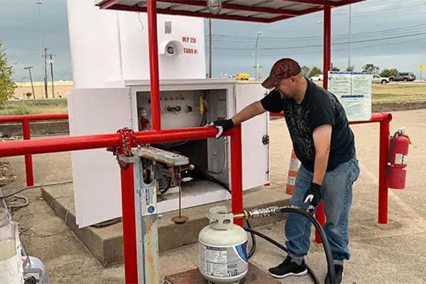 propane tank filling station in Plano