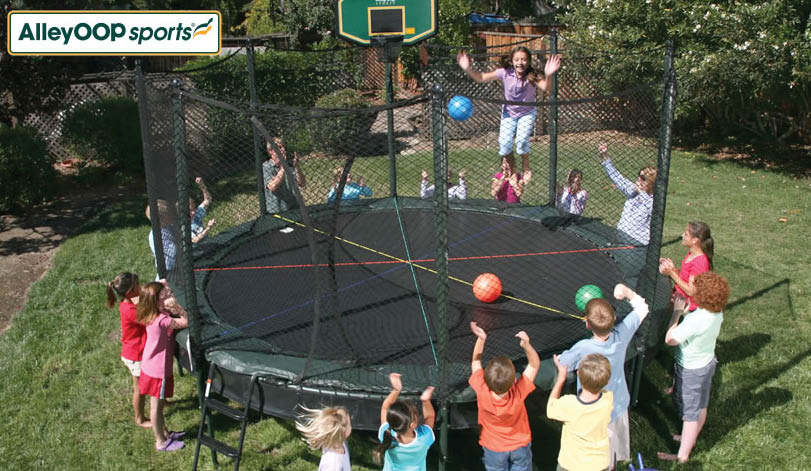Alleyoop Sports trampolines sold at Puget Sound Playgrounds in Fife, Washington - jumping on a trampoline - we sell trampolines