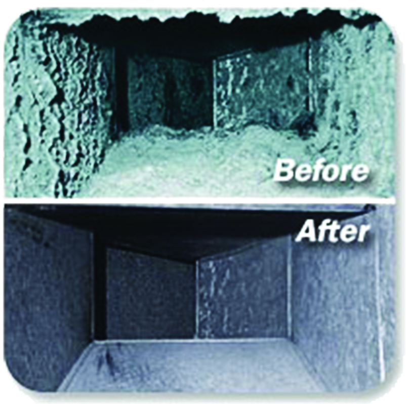 before and after photos of dirty and cleaned air duct by President Air Comfort in Troy, MI