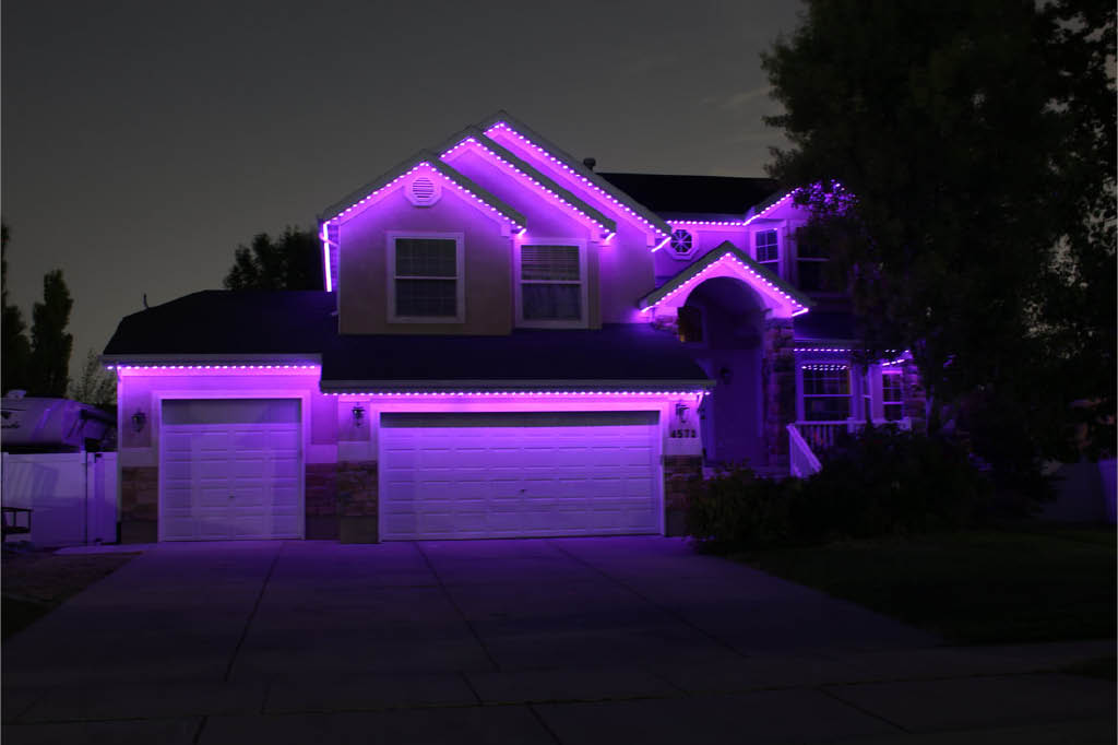 Beautiful outdoor lighting installed by Trimlight Select at Connections Unlimited in Puyallup, WA - color changing outdoor LED lighting - programmable outdoor LED lighting
