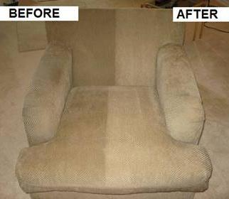 Before and after upholstery cleaning by Quality Cleaning and Restoration