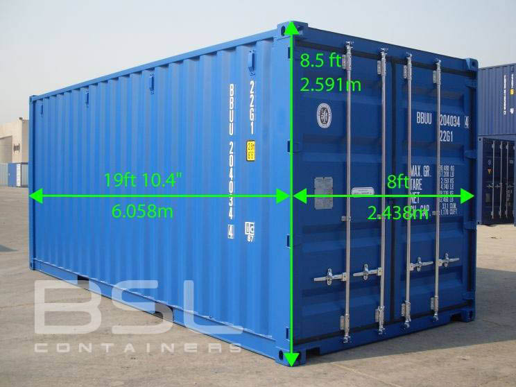Popular shipping container dimension, 20 feet long