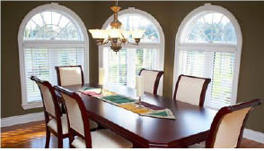 picturesque windows in a dining room