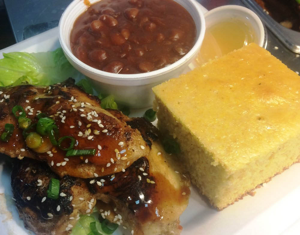 Delicious tender Grilled Boneless Chicken, Baked Beans & Cornbread near Cotati, CA