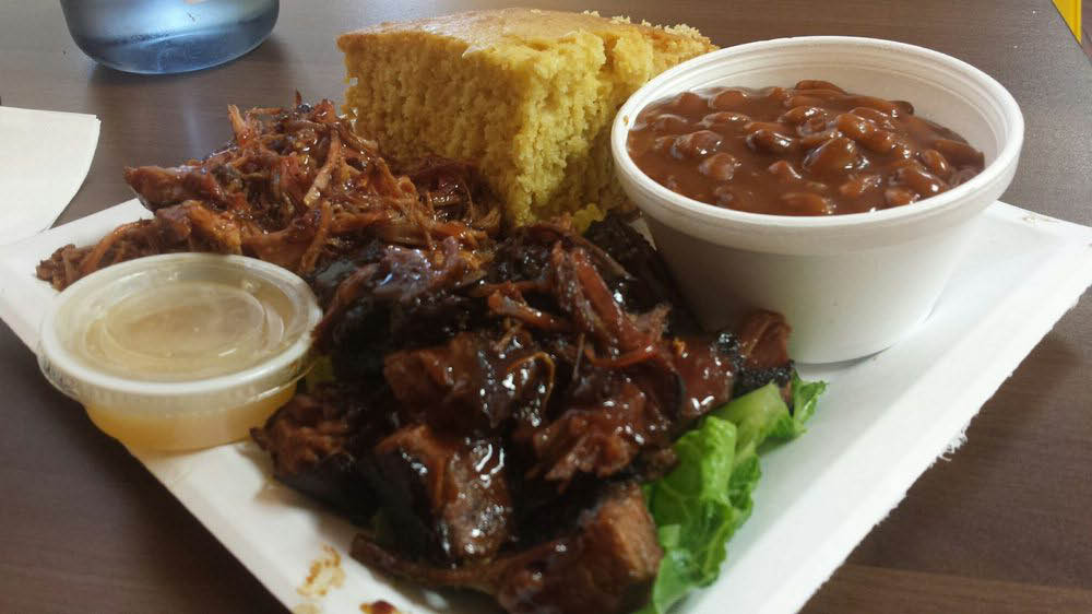 BBQ Pulled Pork and Brisket with sides of Baked Beans and and Corn Bread near Kenwood, CA