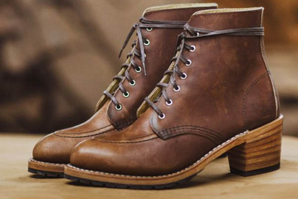 heeled brown boots red wing