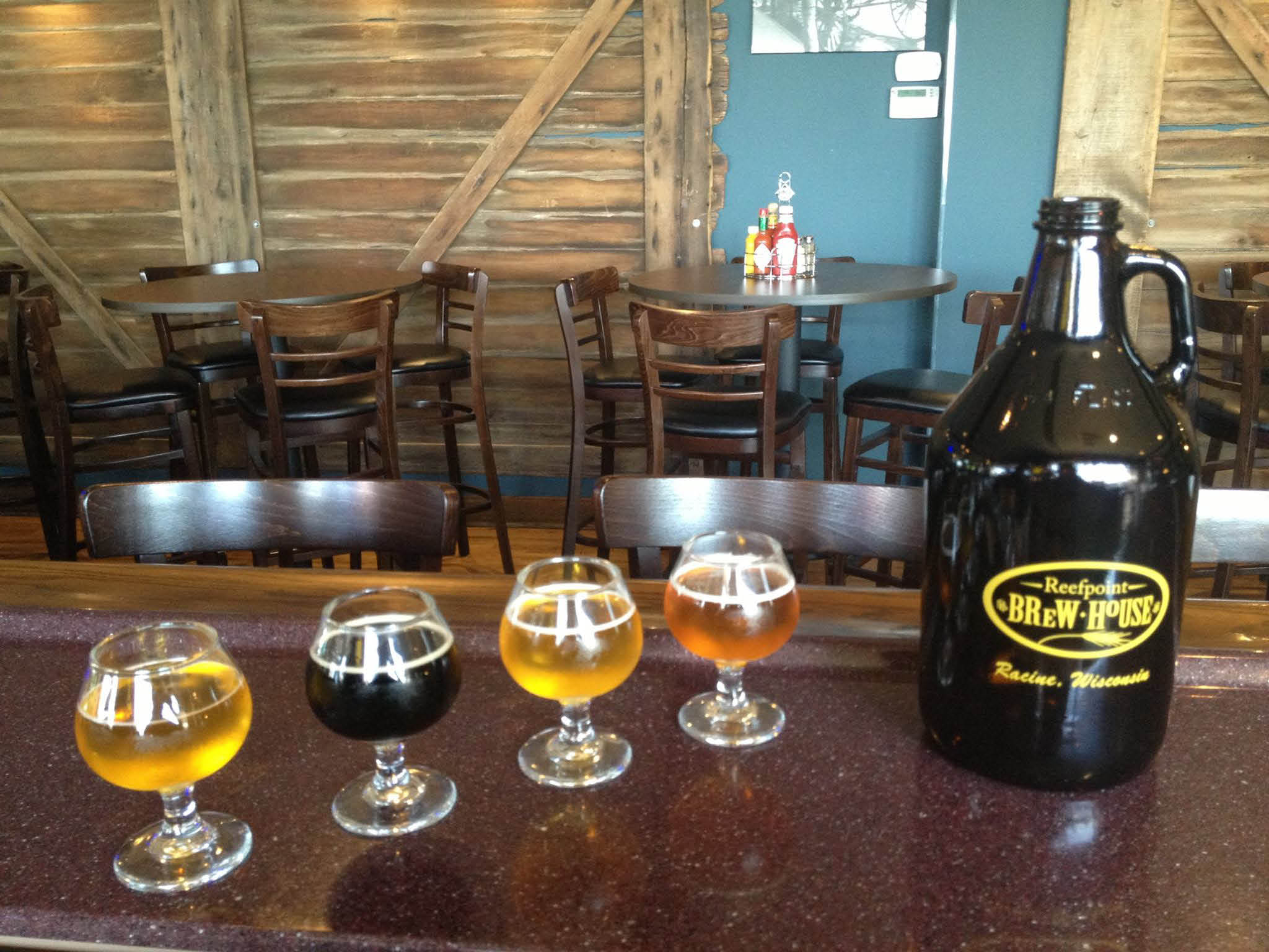 Photo of the brewed beers at Reefpoint brewery, pub and restaurant in Kenosha WI