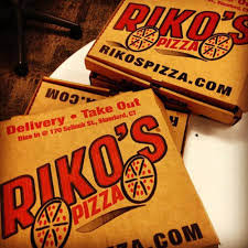 Rikos pizza boxes for delivery to customers in Fairfield County CT