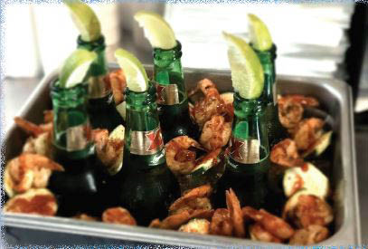 Bottled beers served with grilled shrimp