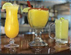 Three blends of mango, guava, and tamarind margaritas