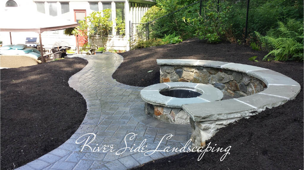 Custom Firepit by River Side Landscaping and Construction in Dover, NJ