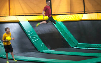 Family recreation center and trampoline park with dodgeball