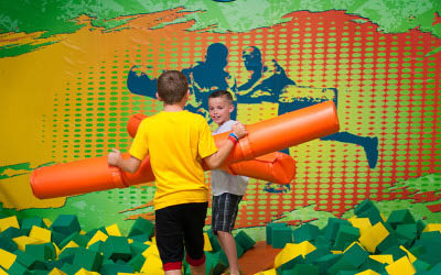 Bounce house for kids birthday parties at Rockin' Jump indoor recreation center