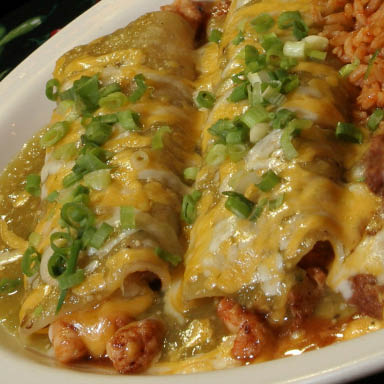 Sumptuous Seafood Enchiladas with Cheese & Onions