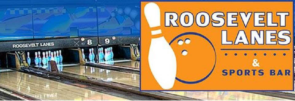 photo of bowling alley lane and logo for Roosevelt Lanes in Allen Park, MI