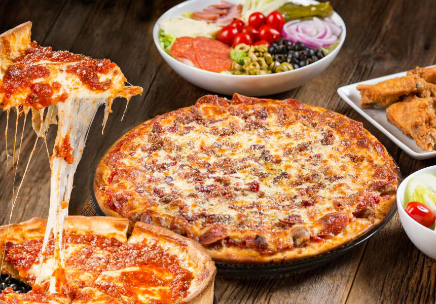 Rosati's Authentic Chicago Style Pizza near offers Take-out, Italian restaurant food, pizza, delivery of restaurant pizzeria.
