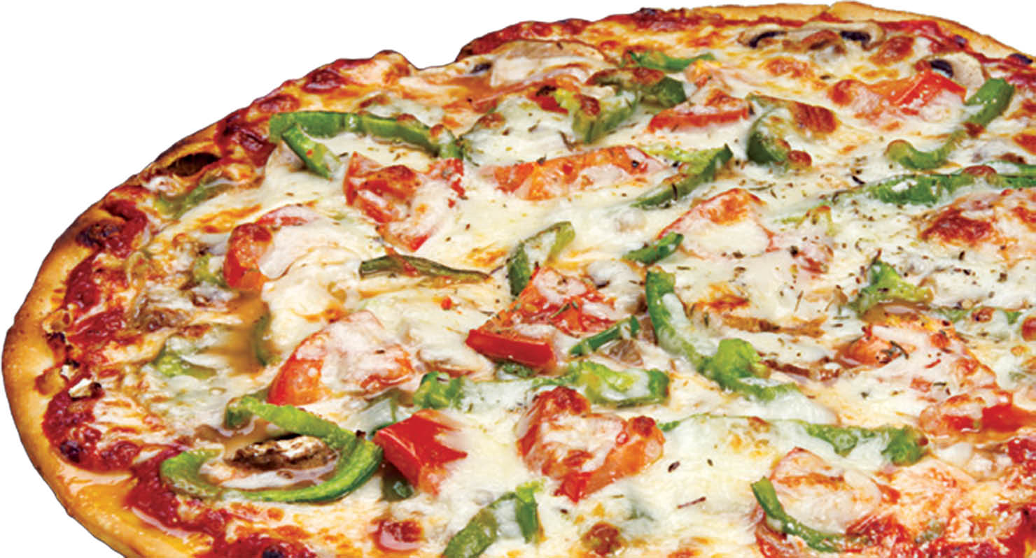 Thin crust pizza with green and red peppers with mushrooms