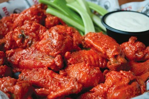 basket of buffalo wings, celery, and blue cheese at Rosati's of Tinley Park, IL
