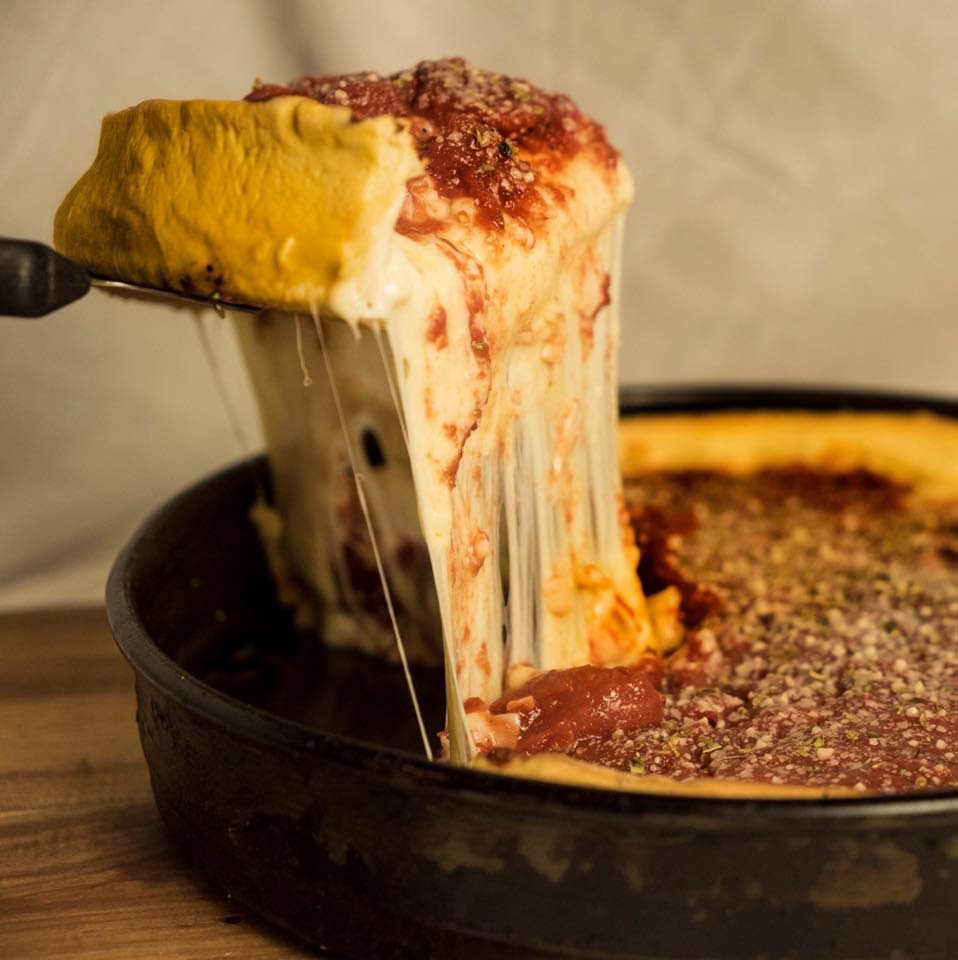 Rosati's deep dish Chicago style pizza available in Oswego and Montgomery, IL.