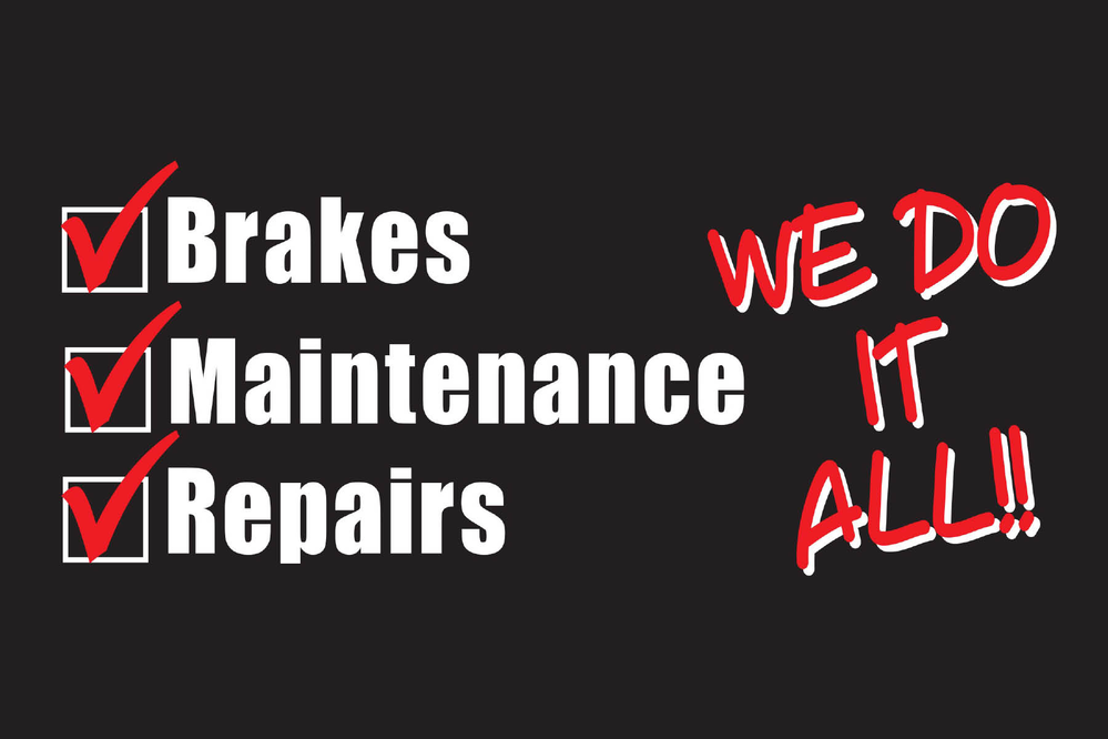 We do it all slogan from Brakes Plus auto repair shop