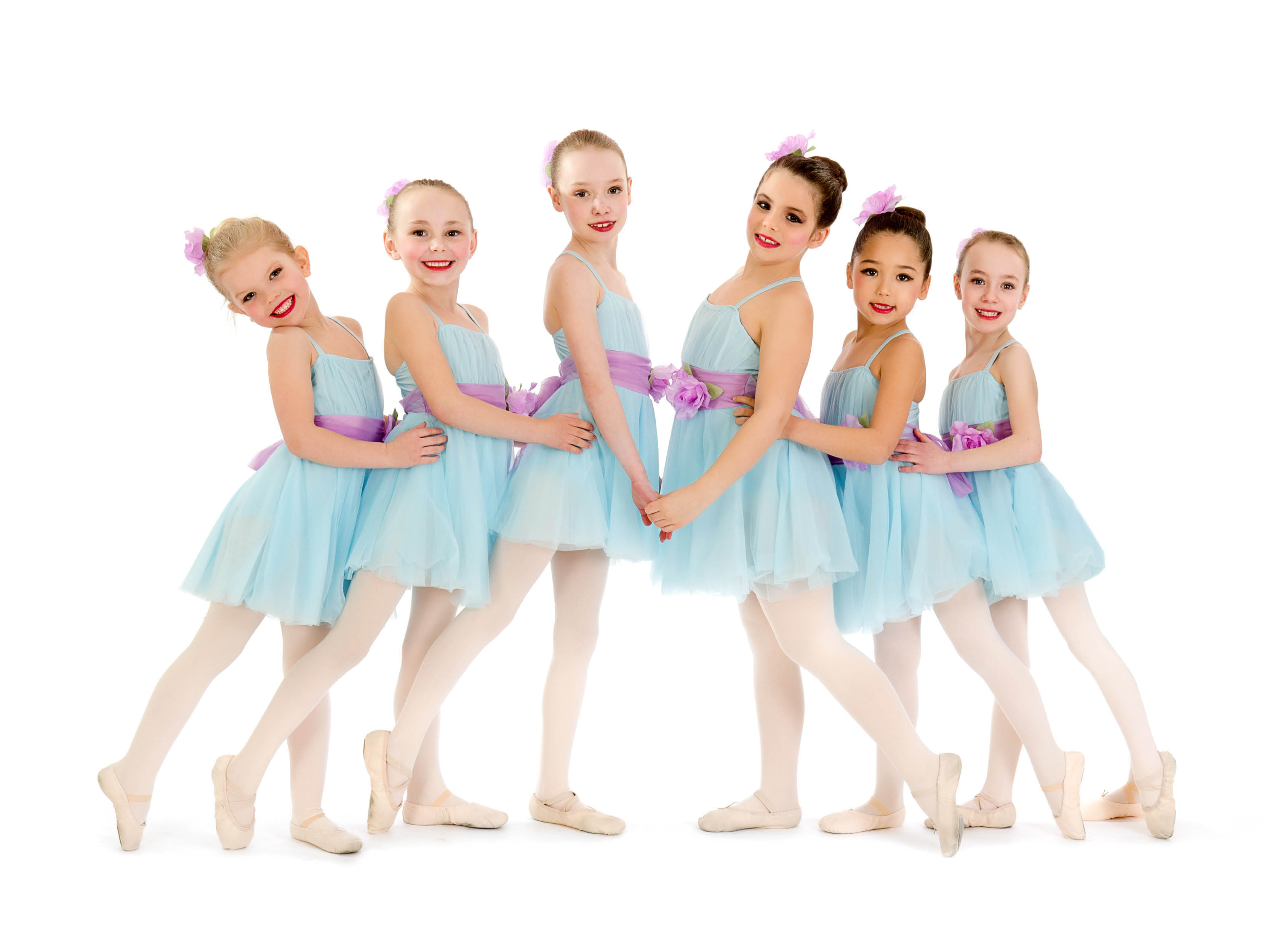 Young ballet dancers ready for a recital