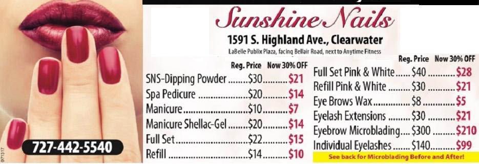 SUNSHINE NAILS BANNER, CLEARWATER, FL