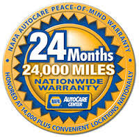 Trust the auto professionals offering a NAPA 24 month warranty