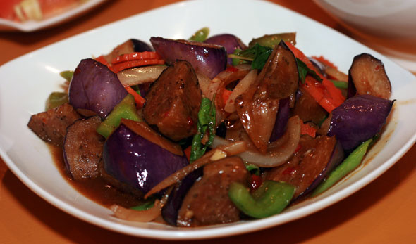 Try the spicy eggplant with tofu at Saigon 2 Siam Bistro