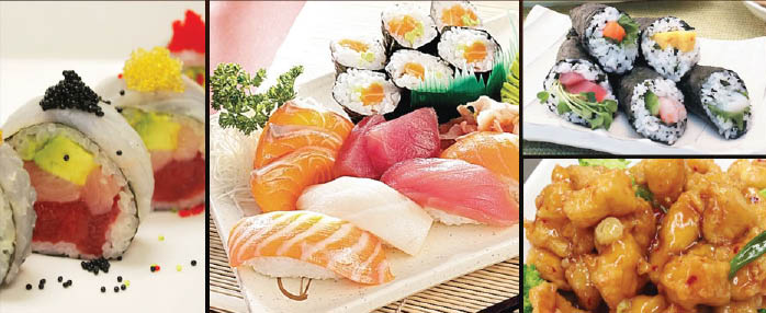 Fresh sushi buffet platter made to order Sakura Sushi & Hibachi Steak House near Coram
