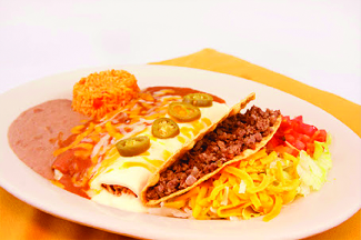 enchilada, rice and beans