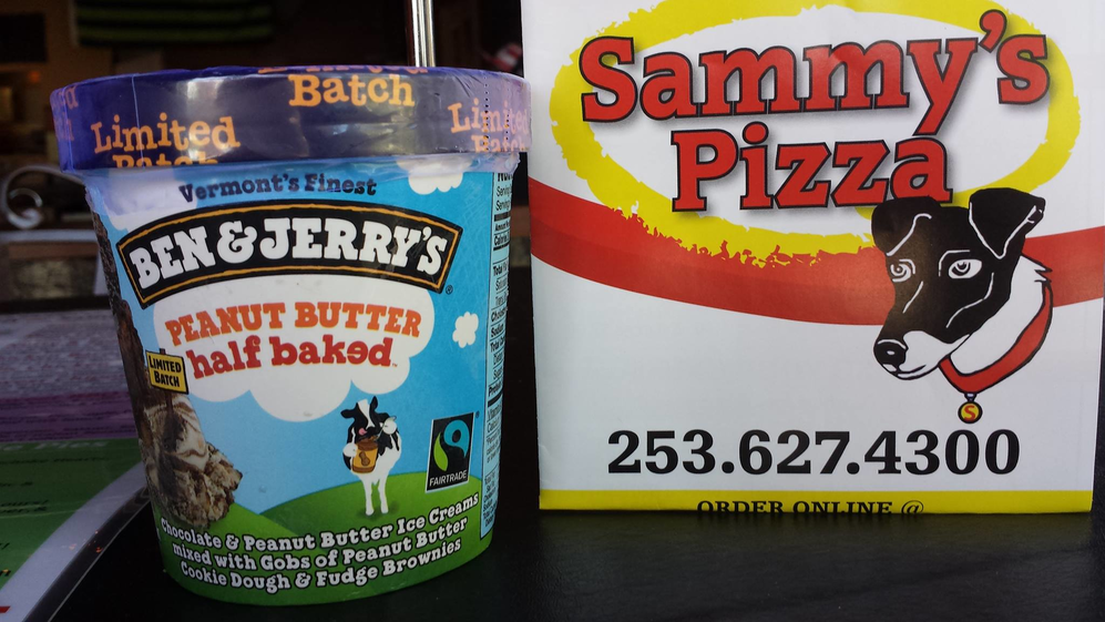 Pints of Ben & Jerry's Ice Cream from Sammy's Pizza in Fircrest and Tacoma, Washington