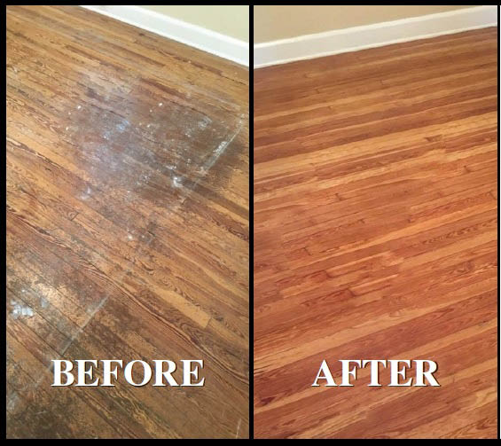 Floor Refinishing Before And After Sand Free Finish