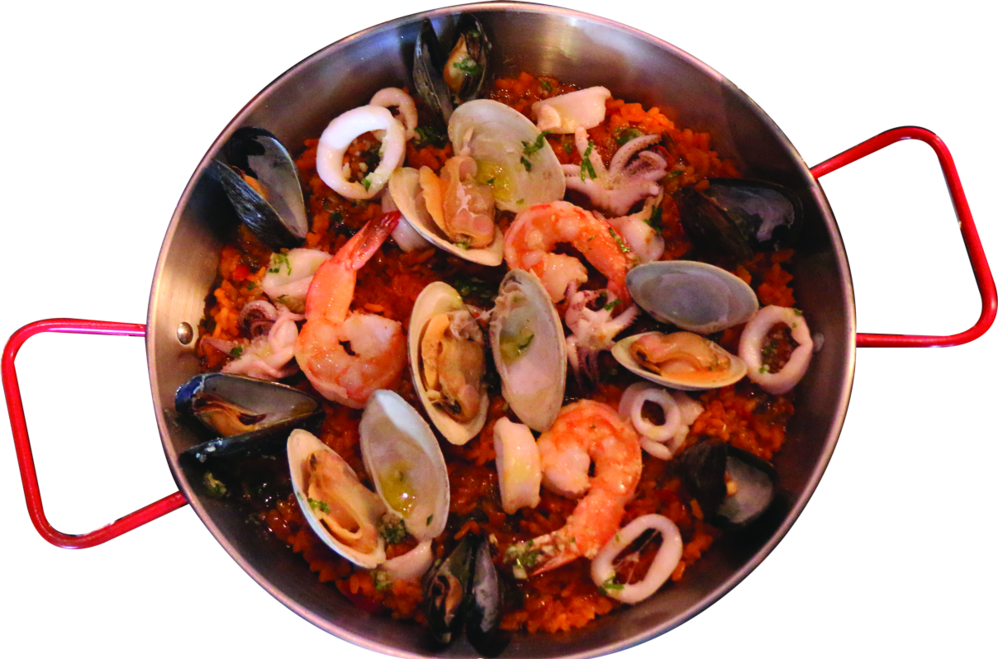 Seafood Paella with shrimp and clams in Bayside, NY