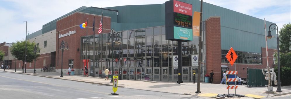 Santander Arena Frontage in Reading, PA banner ad