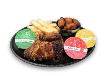 quarter chicken, Peruvian, french fries, plantains, wing