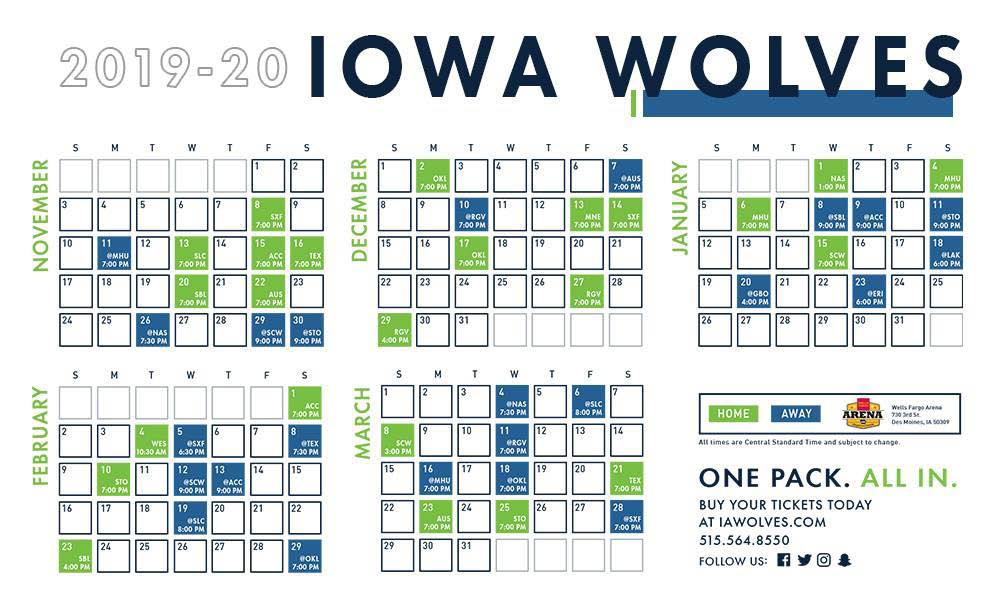 Iowa Wolves Basketball Sports Des Moines Schedule Wells Fargo Arena 2019 2020